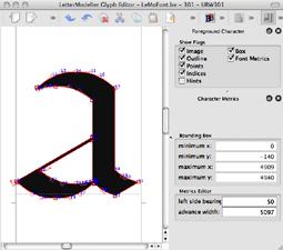 DTL LetterModeller's glyph editor