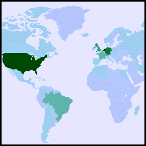 Site visits per country