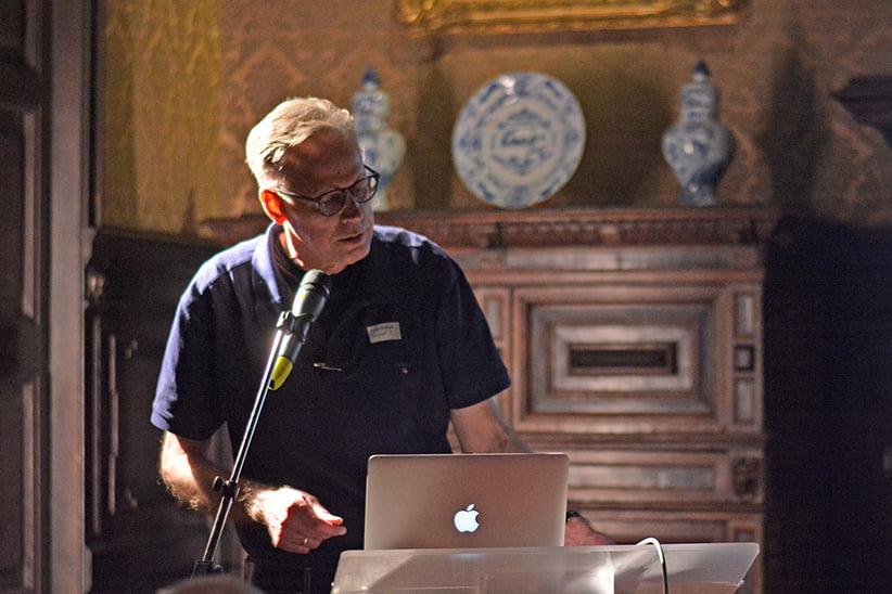Frank E. Blokland talking at Museum Plantin-Moretus