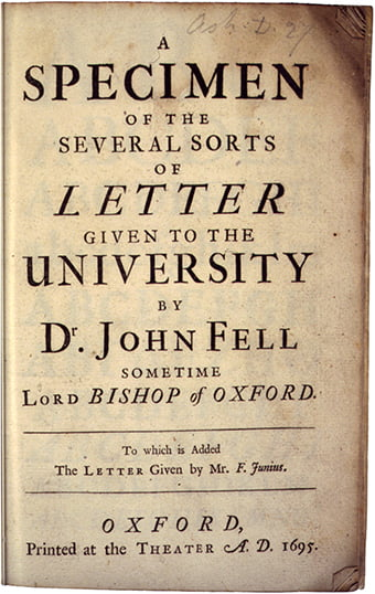 Title page of the Fell type specimen from 1695