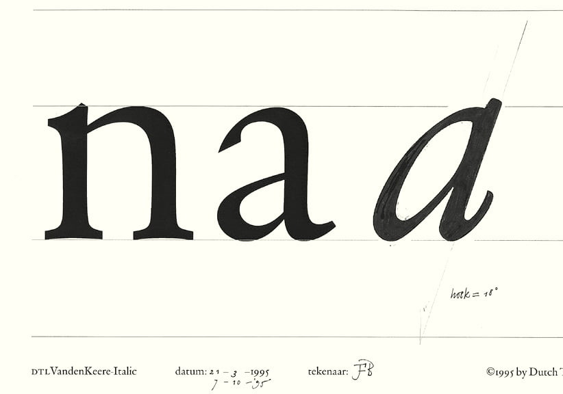 DTL VandenKeere Italic: drawing for lowercase a