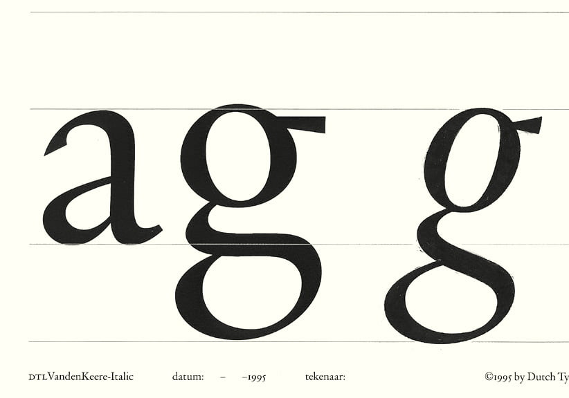 DTL VandenKeere Italic: drawing for lowercase g