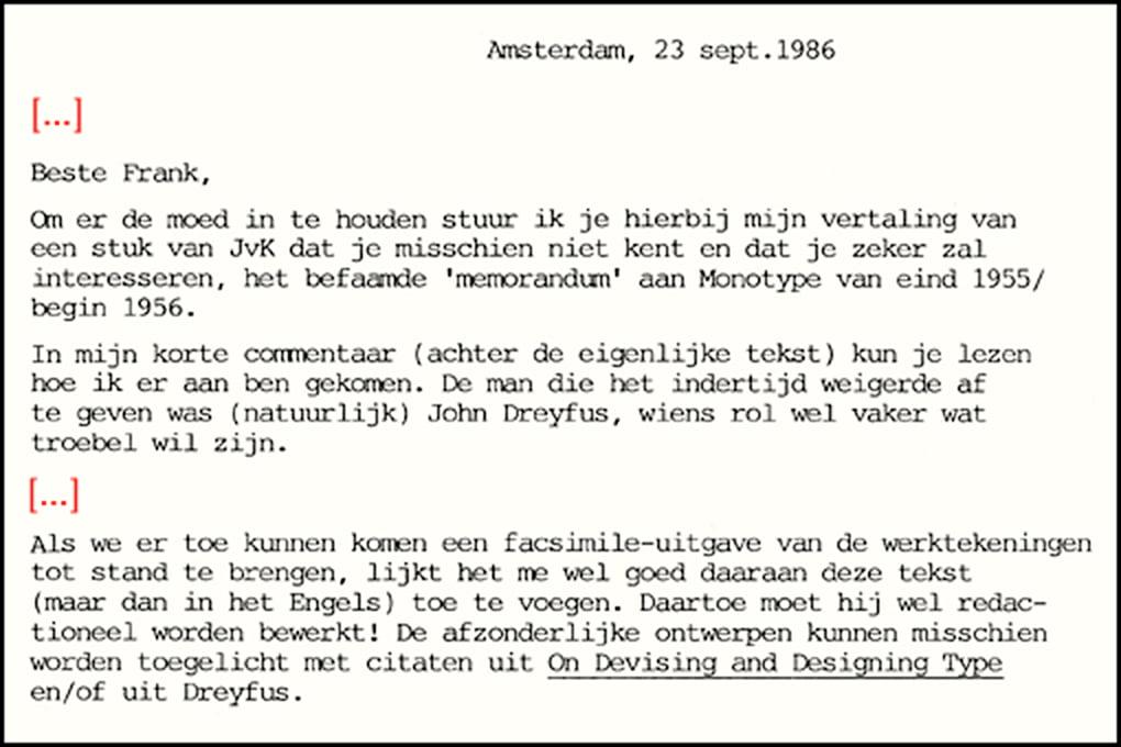 Letter from Huib van Krimpen to Frank E. Blokland