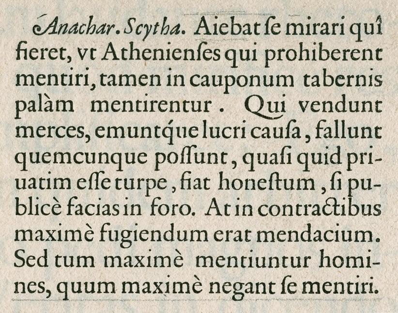 Parangon Romein in Plantin's <em>Folio Specimen