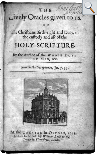 Title page from 1678 showing Fell types